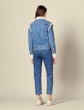 Giacca in jeans con perle : Giacche & Giubbotti colore Blue jeans