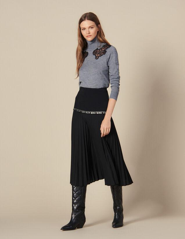 Gonna Lunga A Portafoglio Plissettata : Gonne & Short colore Nero