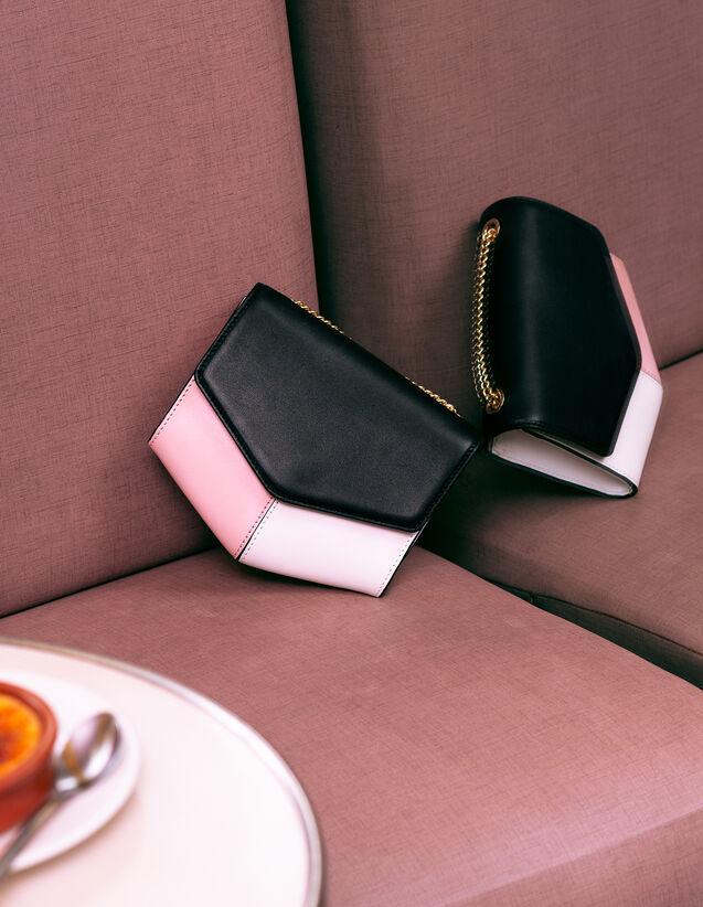 Borsa Lou Piccola : My Lou Bag colore Noir/Blanc/Pivoine