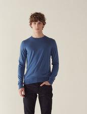 Pullover In Lana Merino : Maglioni & Cardigan colore Blu acciaio