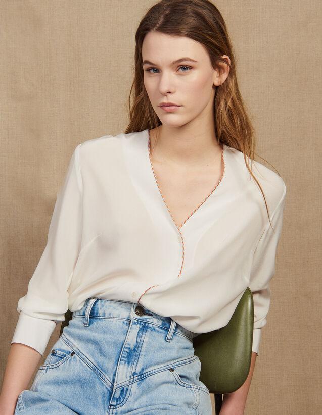 Camicia In Seta Scollata : LastChance-FR-FSelection colore Ecru