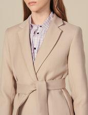Longue Veste Ceinturée En Laine : Manteaux couleur Beige