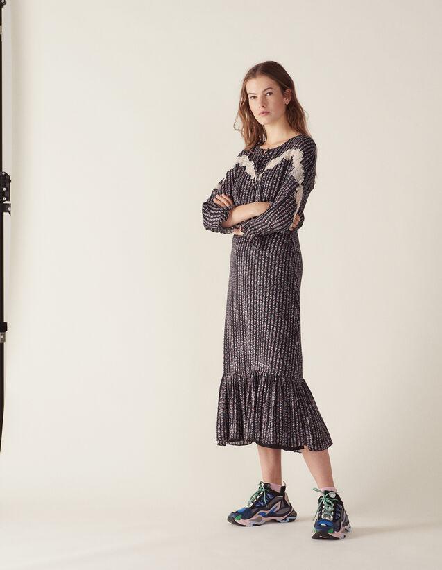 Robe Longue Imprimée Bohème : null couleur Noir