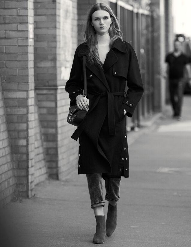 Trench Double Face In Lana : Cappotti colore Nero