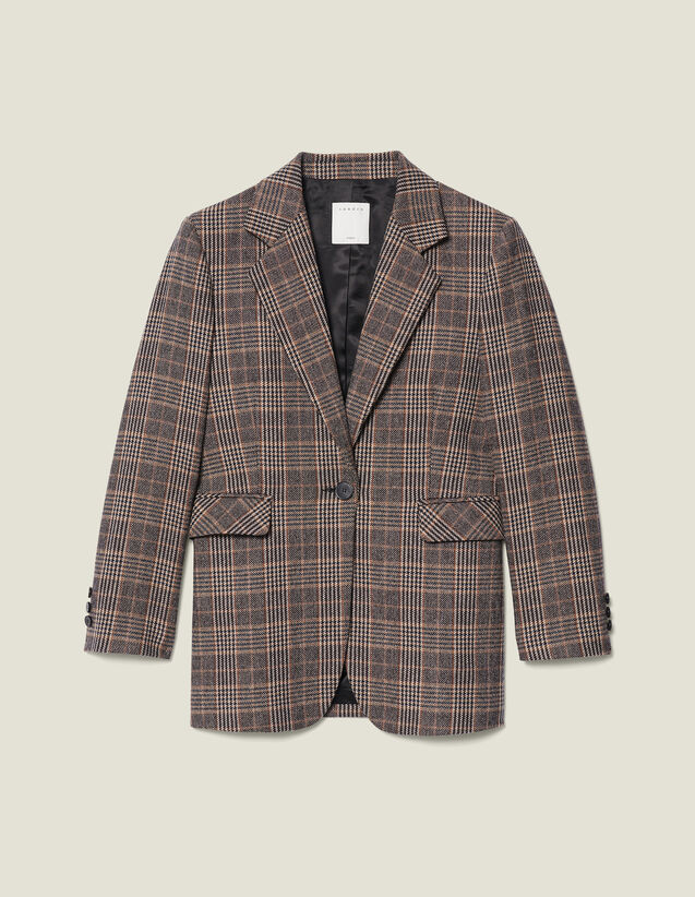 Blazer in lana a quadri : LastChance-ES-F40 colore Cammello