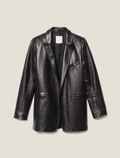 Giacca Da Tailleur In Pelle : Giacche & Giubbotti colore Nero