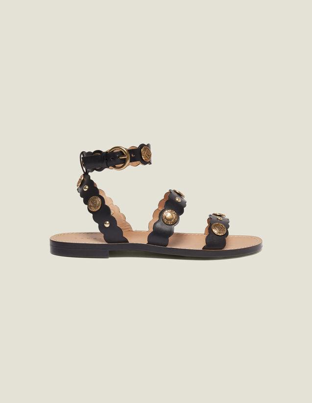 Sandali Piatti Con Rivetti Decorativi : Tutte le Scarpe colore Nero
