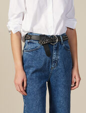Cintura Larga In Pelle E Catena : Cinture colore Nero