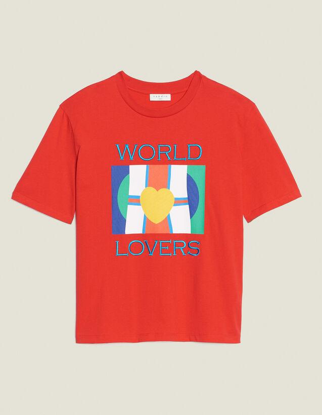 T-Shirt Con Logo Bandiere E Ricamo : Magliette colore Rosso