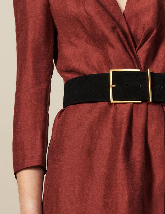 Cintura Larga In Crosta Di Pelle : Cinture colore Nero