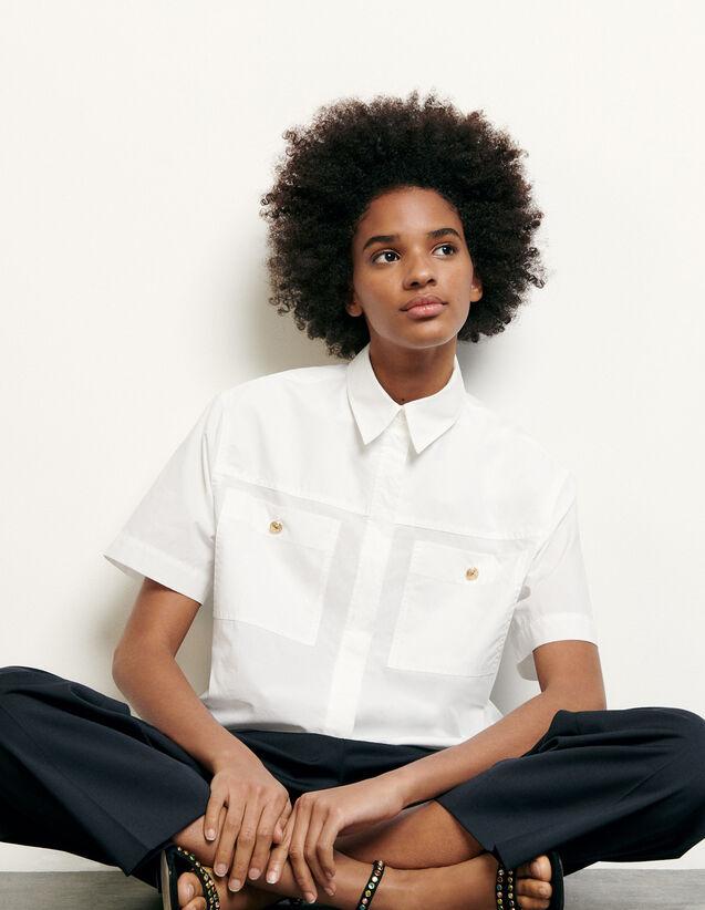 Camicia corta con tasche applicate : Collezione Estiva colore Bianco Ottico
