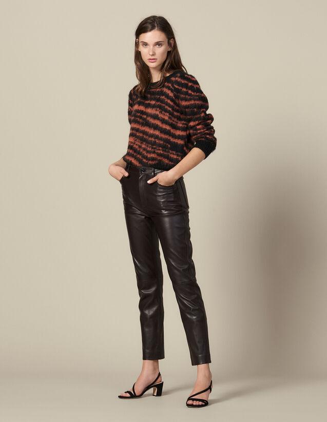 Pantalon en cuir droit à découpes : FBlackFriday-FR-FSelection-30 couleur Marron