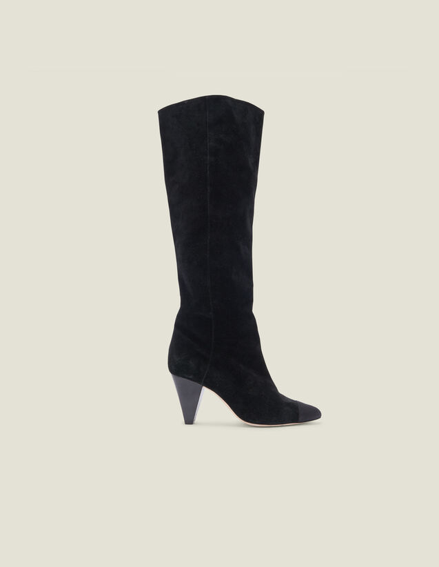 Boots en cuir avec bout pointu : LastChance-ES-F50 couleur Noir