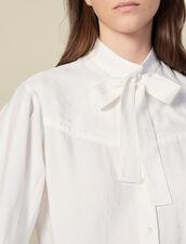 Camicia in jacquard con collo lavallière : Top & Camicie colore Ecru