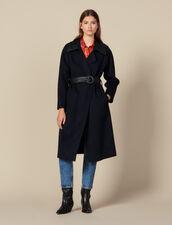Trench Coat En Double Face En Laine : Manteaux couleur Navy