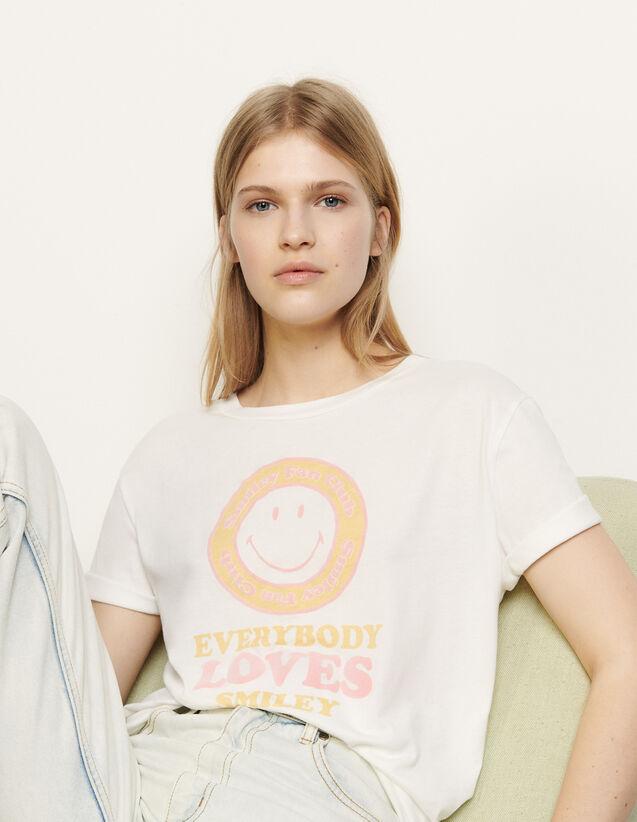 T-shirt con motivo floccato : Magliette colore Blanc / Jaune