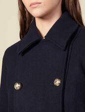 Caban Doppiopetto In Lana : Cappotti colore Blu Marino