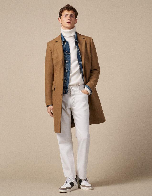 Cappotto lungo a tre bottoni : Trench & Cappotti colore Blu Marino