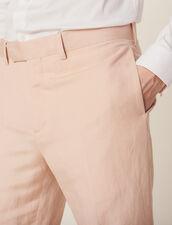 Pantaloni Da Completo In Misto Lino : SOLDES-CH-HSelection-PAP&ACCESS-2DEM colore Rosa pallido