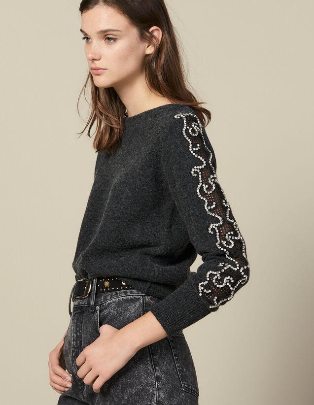 Pull Orné De Strass À Encolure Bateau : Pulls & Cardigans couleur Anthracite