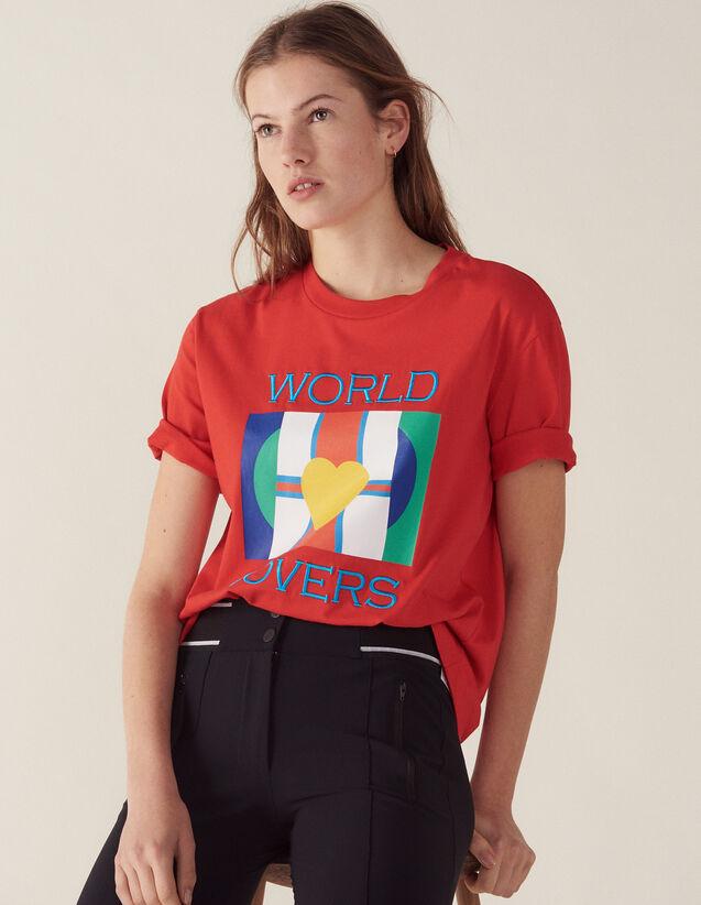 T-Shirt Con Logo Bandiere E Ricamo : LastChance-FR-FSelection colore Rosso