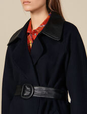 Trench In Lana Double Face : Cappotti colore Navy