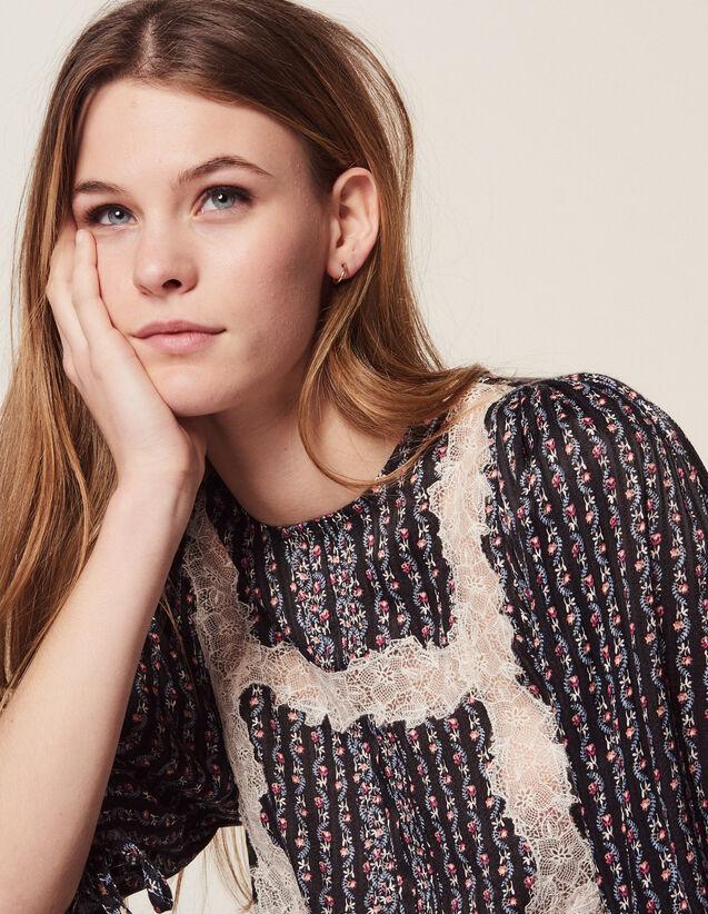 Blusa Stampata Con Maniche A 3/4 : Camicia stampata colore Nero
