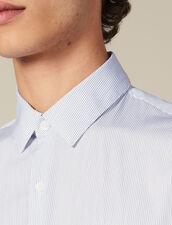 Camicia A Righe Sottili : Collezione Inverno colore Bianco/Blu