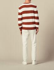 Pull à larges rayures : Pulls & Cardigans couleur Ecru/Rouille