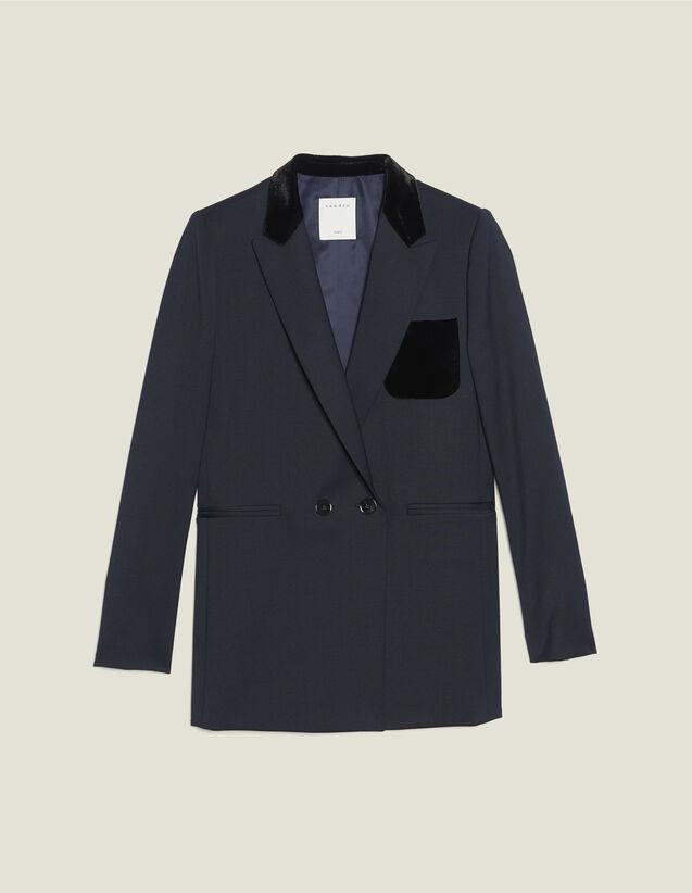 Giacca da tailleur con tasca in velluto : Giacche & Giubbotti colore Blu Marino