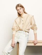 Camicia corta con collo alla coreana : Top & Camicie colore Beige