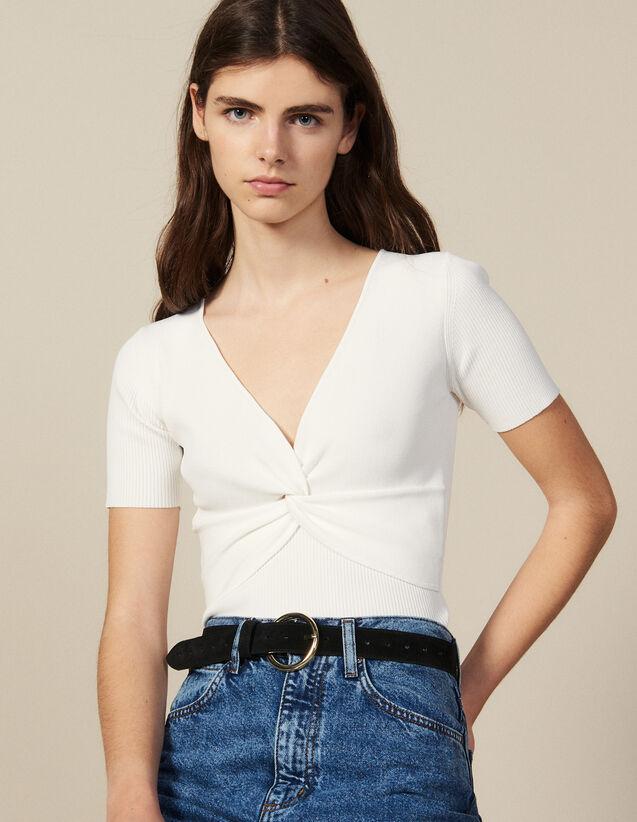 Top court en maille côtelée : Tops & Chemises couleur blanc