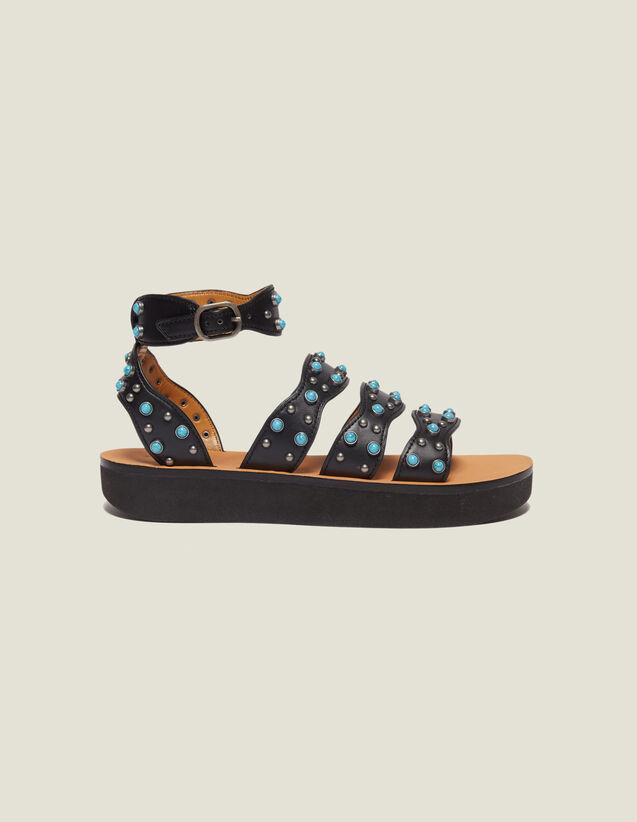 Sandali Con Zeppa E Dettaglio Perle : Tutte le Scarpe colore Nero