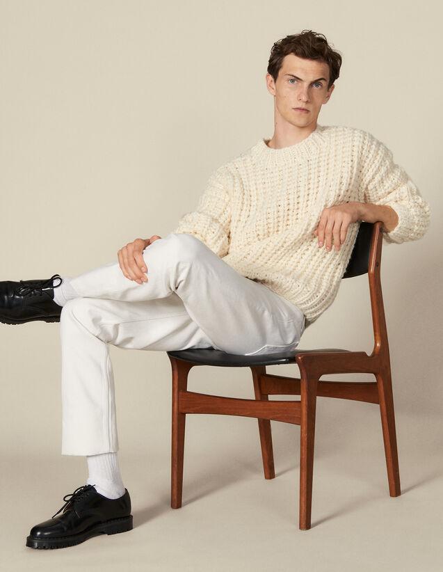 Pull tricoté à la main : Pulls & Cardigans couleur Ecru