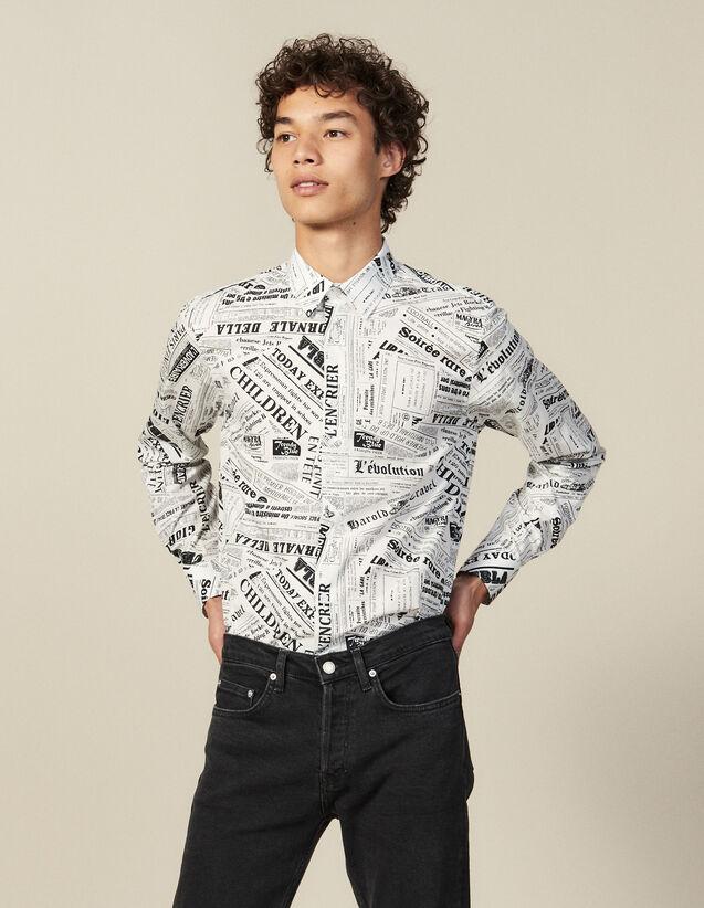 Camicia Con Stampa Giornale : Camicie colore Bianco/Nero
