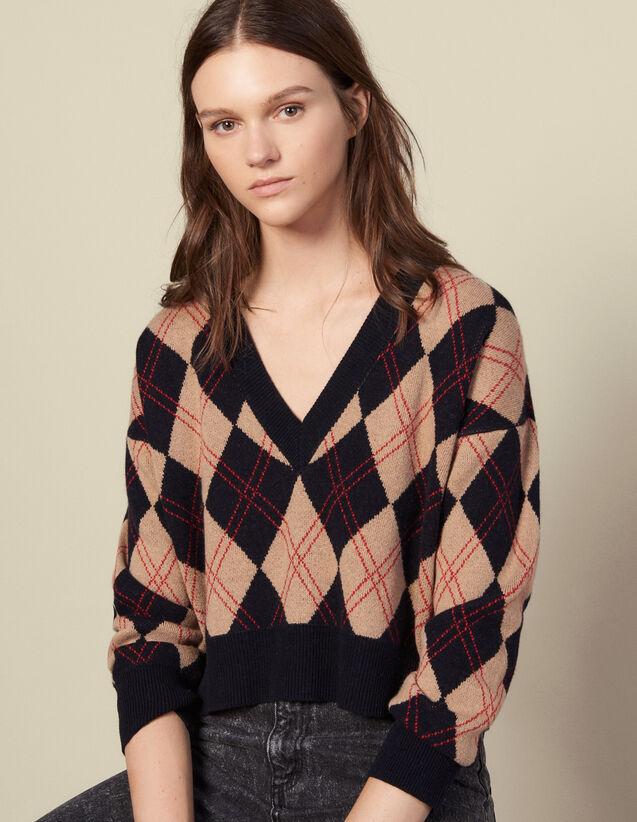 Pullover scollo a V con impunture : Maglieria & Cardigan colore Multicolore