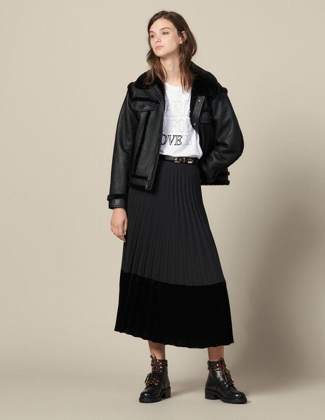 Jupe longue plissée portefeuille : Jupes & Shorts couleur Noir