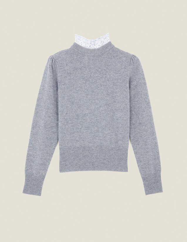 Pull À Col Rapporté : Pulls & Cardigans couleur Gris Clair