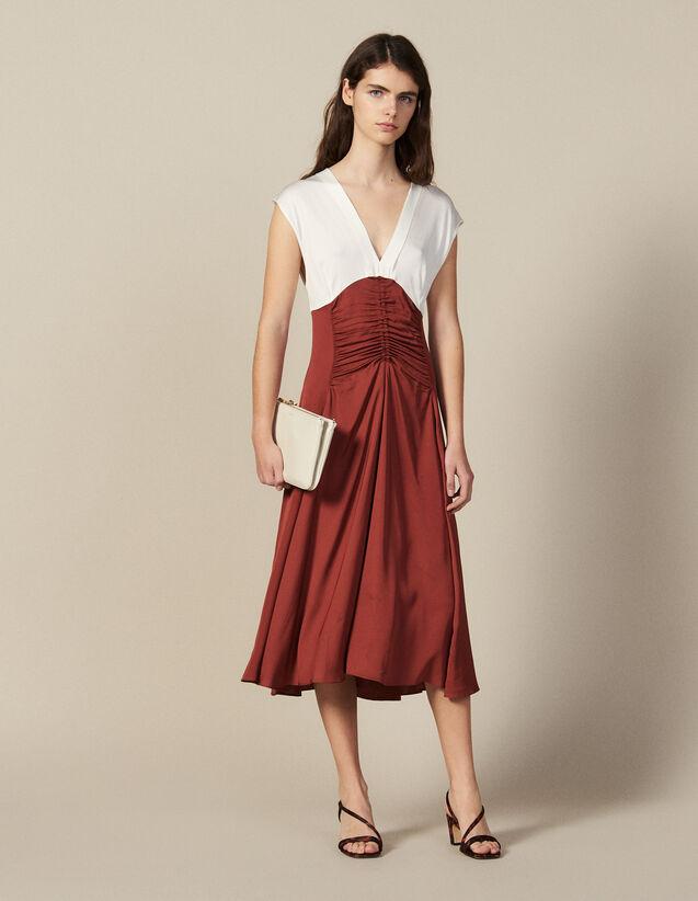 Robe Midi Avec Jeu De Fronces : FNouveautés-Master couleur Ecru