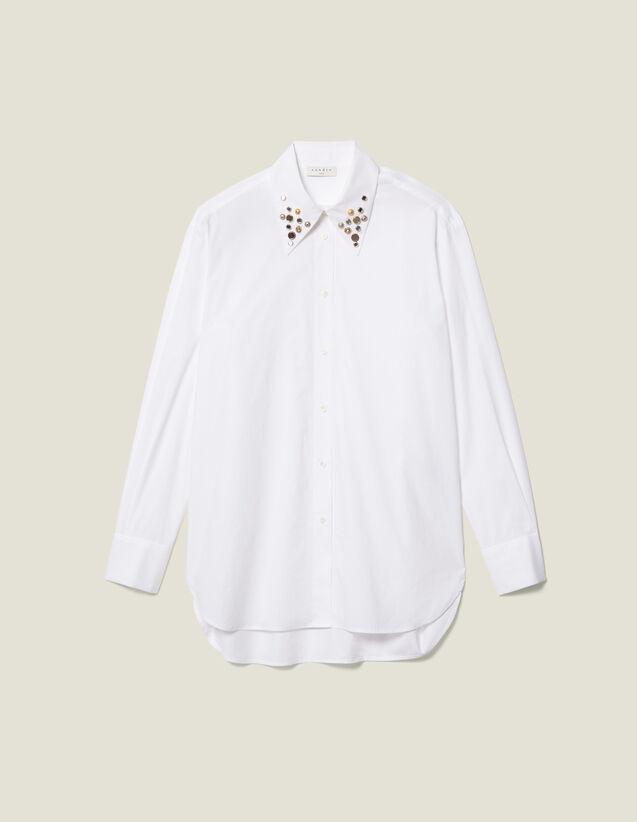 Camicia asimmetrica ornata da borchie : LastChance-ES-F50 colore Bianco