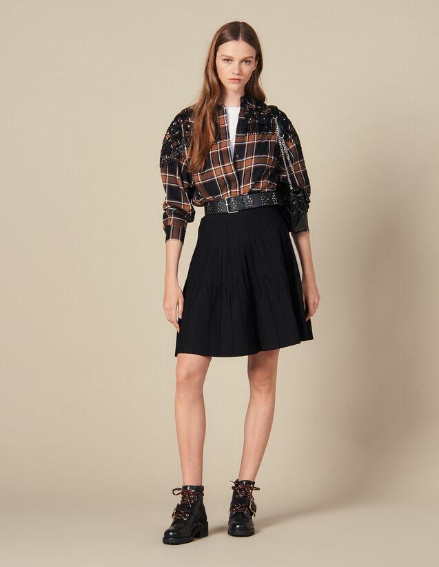 Jupe En Maille Évasée : Jupes & Shorts couleur Noir