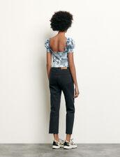 Top corto a punto smock con stampa : Top & Camicie colore Blu