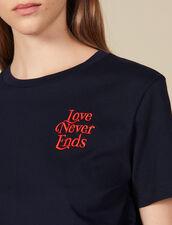 T-Shirt In Cotone Con Scritta : Magliette colore Blu Marino