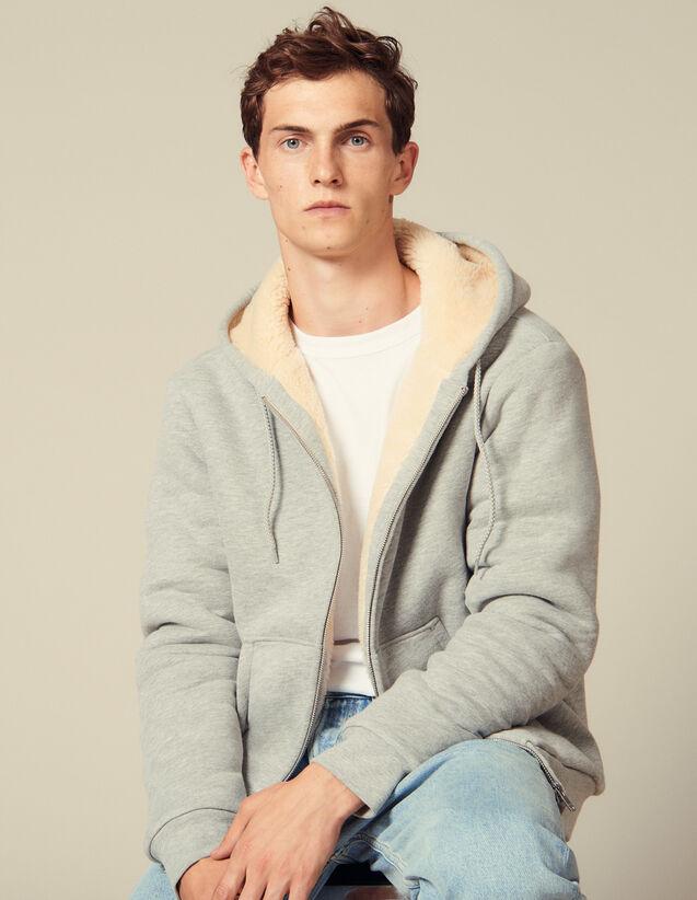 Hoodie sherpa zippé : Sweats couleur Gris Chiné