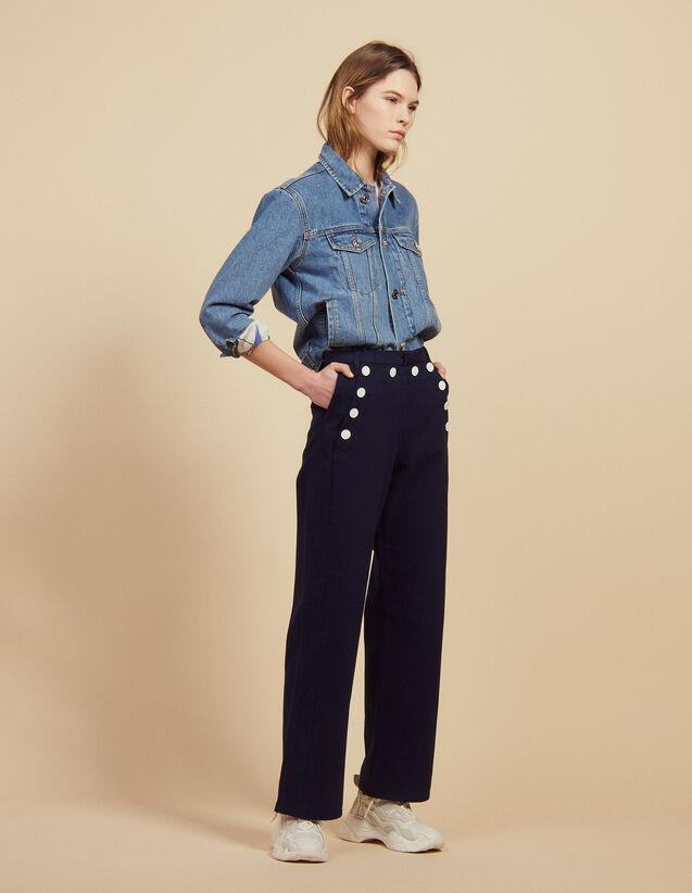 Pantaloni A Ponte : Pantaloni colore Blu Marino