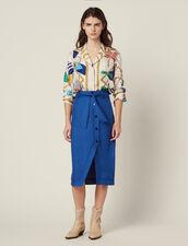 Gonna Al Ginocchio Con Cintura : Gonne & Short colore Blu