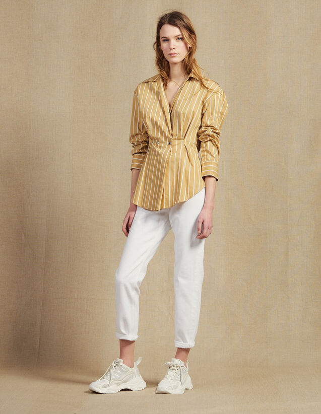 Camicia A Righe A Maniche Lunghe : LastChance-CH-FSelection-Pap&Access colore Beige