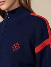 Pullover a collo alto con mezza zip : LastChance-ES-F40 colore Blu Marino