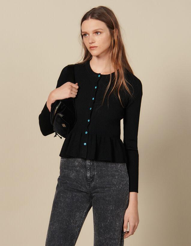 Cardigan En Maille Côtelée : Pulls & Cardigans couleur Noir