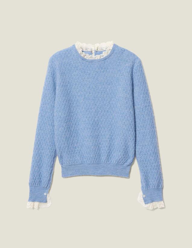 Pull en pointelle bordé de dentelle : Pulls & Cardigans couleur Ciel